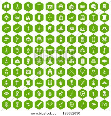 100 museum icons set in green hexagon isolated vector illustration