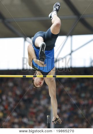 Maksym Marzuryk Ukraine competing in the pole vault at the Istaf Berlin International Golden League Athletics held at Berlin's Olympia Stadium (Olympic Stadium) 1st June 2008