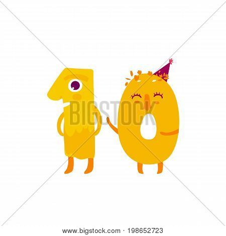 Vector cute animallike character number dozen 10. Flat cartoon illustration on a white background. Happy birthday, new year decorative numbers. Funny smiling colored math, education symbols
