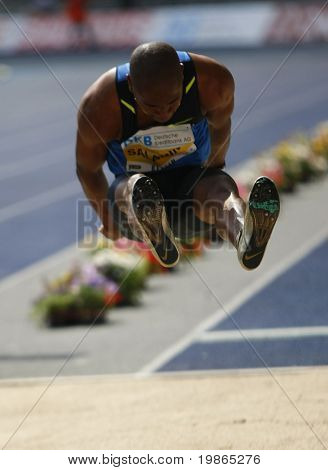 Irving Saladino Panama competing in the long jump at the Istaf Berlin International Golden League Athletics held at Berlin's Olympia Stadium (Olympic Stadium) 1st June 2008