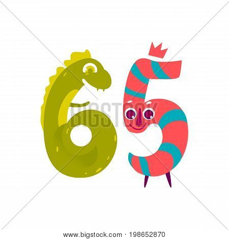 Vector cute animallike character number sixty five 65. Flat cartoon illustration on a white background. Happy birthday, new year decorative numbers. Funny smiling colored math, education symbols
