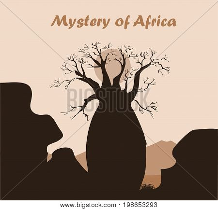 Baobab tree landscape with mountains background. Baobab silhouette. African nature. Vector illustration. Place for text