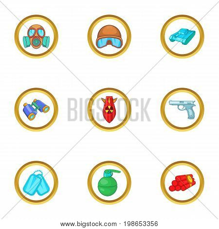 Armament icons set. Cartoon set of 9 armament vector icons for web isolated on white background