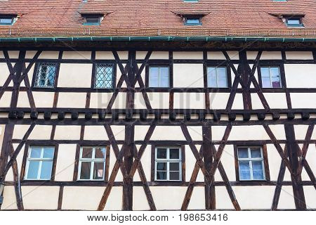 Traditional half-timbered colorful house in Germany close-up