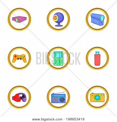 Portable gadget icons set. Cartoon set of 9 portable gadget vector icons for web isolated on white background