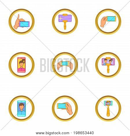 Making selfie icons set. Cartoon set of 9 making selfie vector icons for web isolated on white background