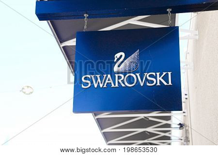 LAS VEGAS, NEVADA - October 11, 2016: SWAROVSKI Logo On Store Front Sign in the famous Premium outlet North at Las Vegas,NV.