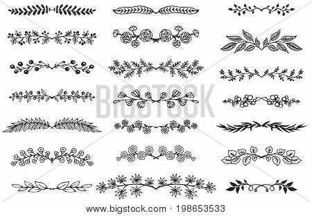 Vector collection of hand drawn borders in sketch style. Floral and abstract dividers for your design.