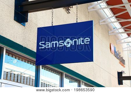 LAS VEGAS, NEVADA - October 11, 2016: Samsonite Logo On Store Front Sign in the famous Premium outlet North at Las Vegas,NV.