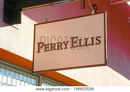 LAS VEGAS, NEVADA - October 11, 2016: Perry Ellis Logo On Store Front Sign in the famous Premium outlet North at Las Vegas,NV.