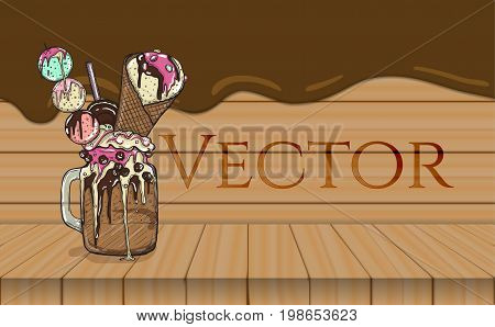 cartoon Style Milkshake with cookies chocolate sweets and ice cream. Wooden and chocolate flow background. Vector illustration.