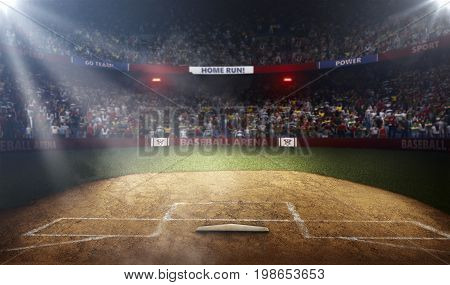 Professional baseball grand arena in light rays 3d