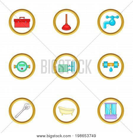 Plumbing things icons set. Cartoon set of 9 plumbing things vector icons for web isolated on white background