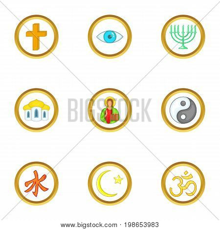 Types of religion icons set. Cartoon set of 9 Types of religion vector icons for web isolated on white background