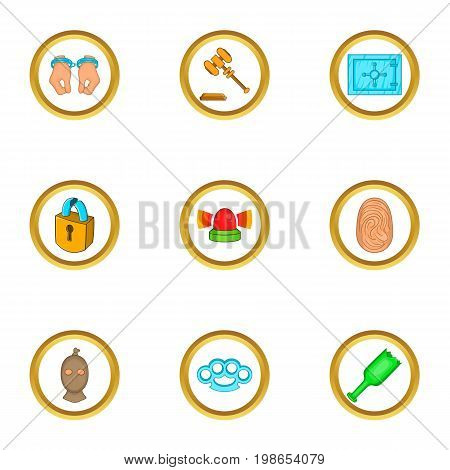 Court icons set. Cartoon set of 9 court vector icons for web isolated on white background