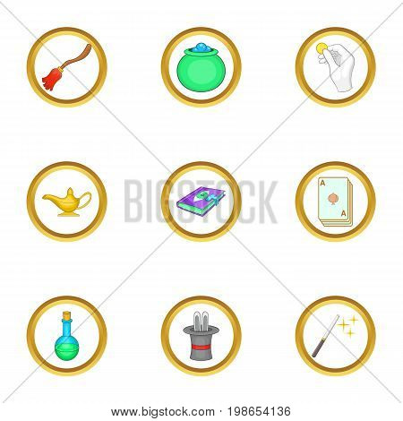 Magic items icons set. Cartoon set of 9 magic items vector icons for web isolated on white background