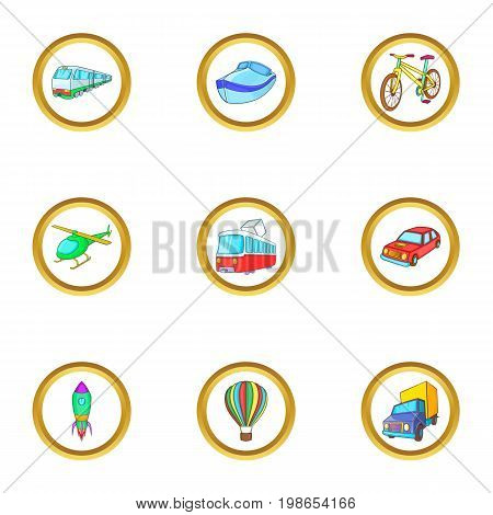 City vehicle icons set. Cartoon set of 9 city vehicle vector icons for web isolated on white background