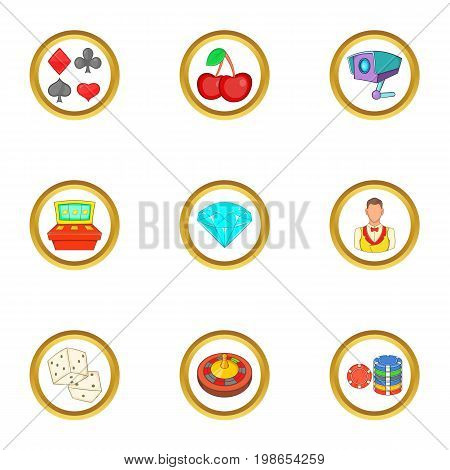 Casino things icons set. Cartoon set of 9 casino things vector icons for web isolated on white background