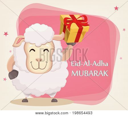 Festival of sacrifice Eid al-Adha. Traditional muslin holiday. Greeting card funny sheep with gift box. Vector illustration on abstract background.