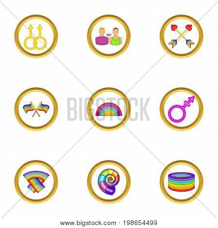 Lgbt rights icons set. Cartoon set of 9 lgbt rights vector icons for web isolated on white background