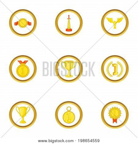 Medal icons set. Cartoon set of 9 medal vector icons for web isolated on white background