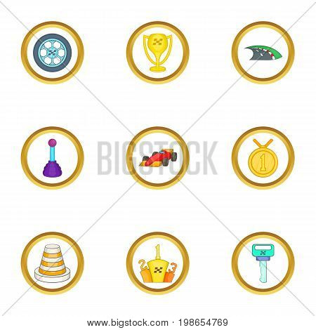 Car tournament icons set. Cartoon set of 9 car tournament vector icons for web isolated on white background