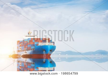 Container Cargo Freight Ship With Working Crane Bridge In Shipyard, Logistics, Transportation, Import, Export, Container Terminal On The Sky Background