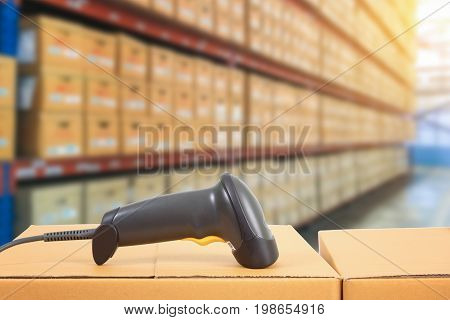 barcode scanner in warehouse e-commerce package shipping