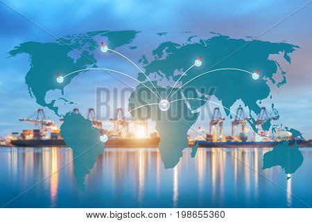 Map global logistics partnership connection of Container Cargo freight ship for Logistics Import Export background