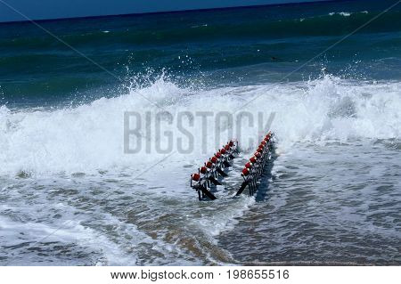 Special device for launching jet ski to the water.