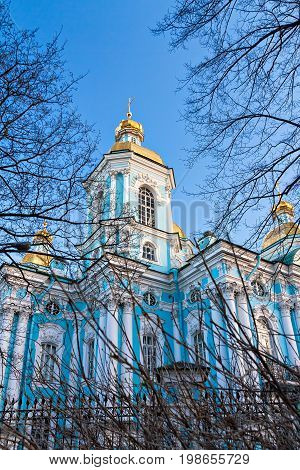St. Nicholas Nikolsky Naval Cathedral in the Baroque architectural style in St. Petersburg in the spring