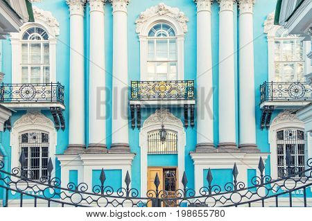 Facade of St. Nicholas Naval Cathedral in the Baroque architectural style in St. Petersburg in the spring