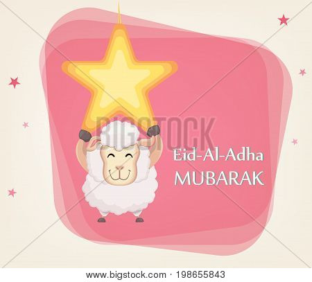 Festival of sacrifice Eid al-Adha. Traditional muslin holiday. Greeting card with funny sheep hanging on the star. Vector illustration on abstract background.