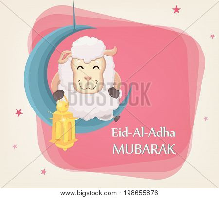 Festival of sacrifice Eid al-Adha. Traditional muslin holiday. Greeting card with funny sheep holding golden lantern and sitting on the moon. Vector illustration on abstract background.