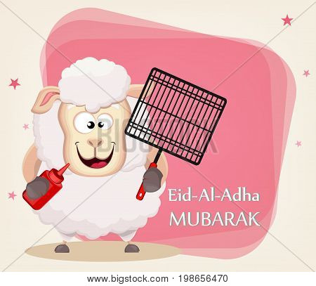 Festival of sacrifice Eid al-Adha. Traditional muslin holiday. Greeting card with funny sheep holding barbecue grid and sauce. Vector illustration on abstract background.