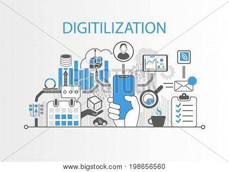 Digitilization concept as vector illustration with hand holding bezel-free smartphone