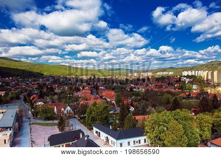 View to the Miskolc city from the wall of Diosgyor castle, Hungary