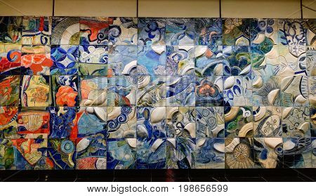 Ceramic Wall At Subway Station In Singapore