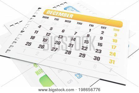 3D December Month Tear Off Calendar