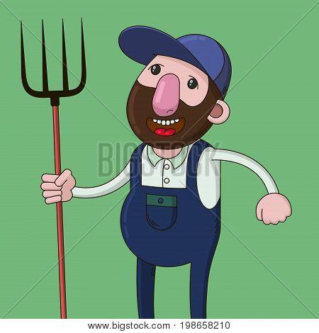 smiling farmer holding a pitchfork, cartoon illustration