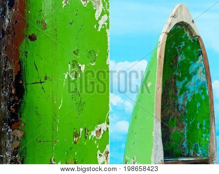 Green wooden Indonesian boat. National character, etno