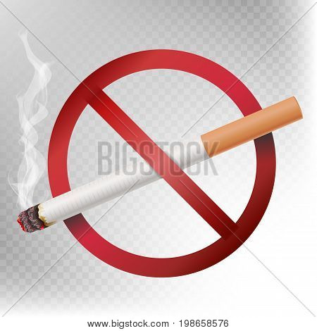 No Smoking Sign Vector. Illustration Isolated On Transparent Background. Cigarette With Smoke