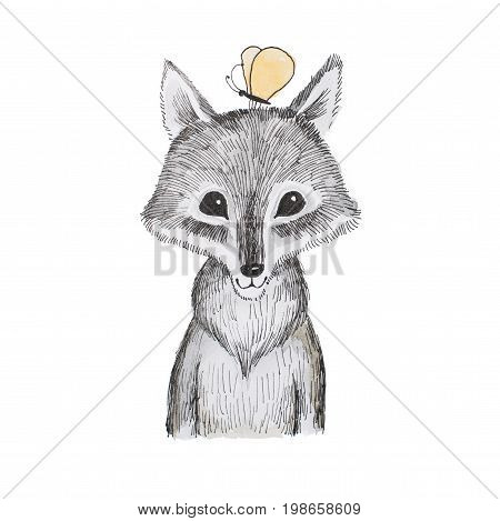 Illustration of cartoon animal. Portrait of cute little wolf cub with a butterfly sitting on his head.