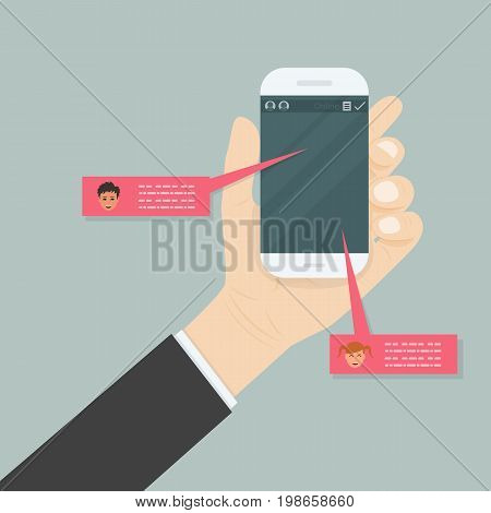 Hand holding mobile phone.Social network concept.Messenger window.Chatingline and messaging concept.Vector illustration.