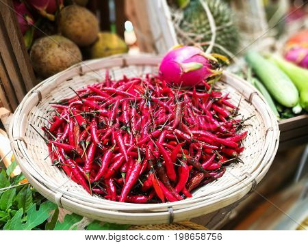 Red Chilli Peppers On Wicker Tray