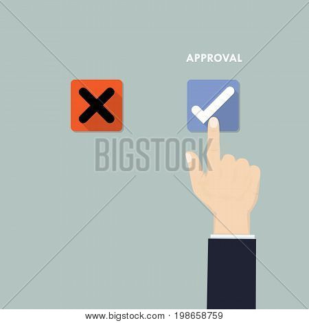 Hand pushing button with checkmark.Rejection and Approval decision concept.Hand finger pressing buttons Rejection or Approval sign.Flat design vector illustration