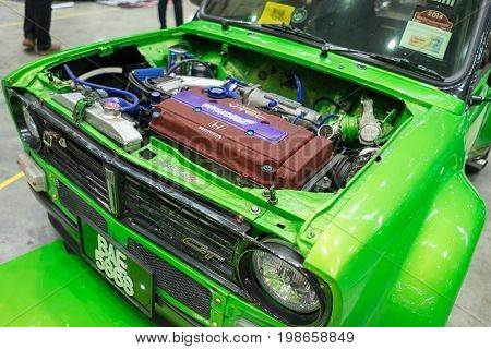 Serdang, Selangor Malaysia - July 29,2017 : Wide-body Green Mini Cooper Fitted With Honda Engine On