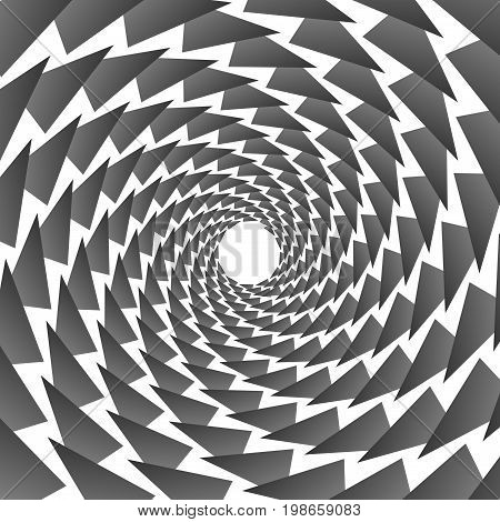 Background, Pattern, Black And White Spiral Pattern. Round Centered Halftone Illustration. Triangle,