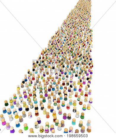 Crowd of small symbolic figures long parade 3d illustration isolated vertical over white