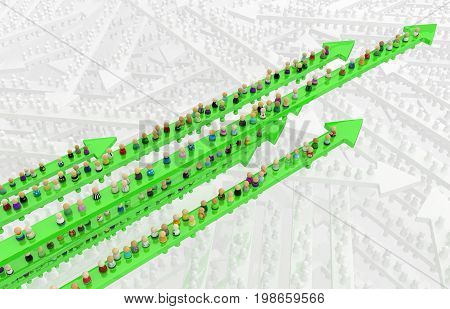 Crowd of small symbolic figures movement green arrows 3d illustration horizontal over white